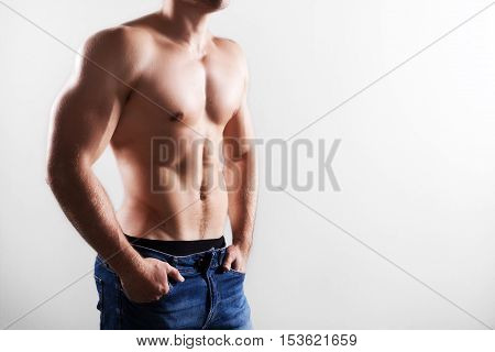 strong young perfect body of a fit man
