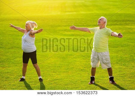 Senior couple doing physical exercise. Smiling people on grass background. Maintain self discipline. Health and rehabilitation.