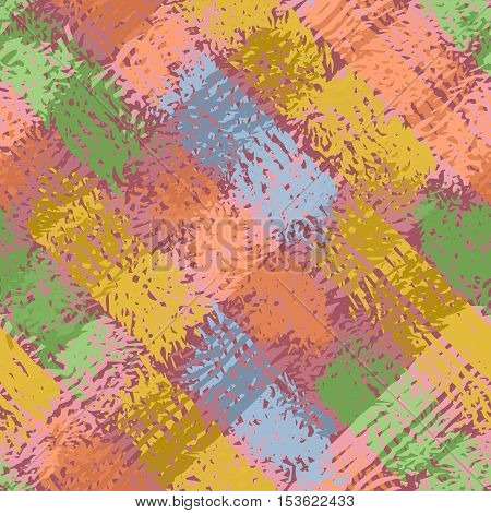 Abstract grunge seamless chaotic square pattern with brushstrokes blots drops and splashes. Trendy colorful texture background. Modern wallpaper. Fashionable print with a shabby paint effect.