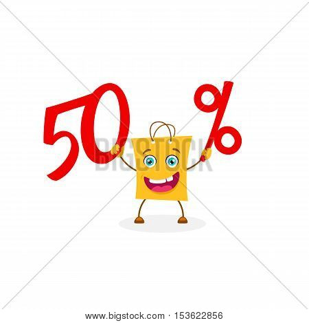 Funny Cartoon Shopping Bag Holding Fifty Percent Discount. Vector Sale Object Isolated On White Back