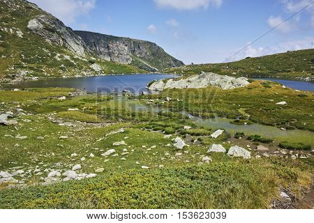 Panoramic view of The Trefoil lake, Rila Mountain, The Seven Rila Lakes, Bulgaria