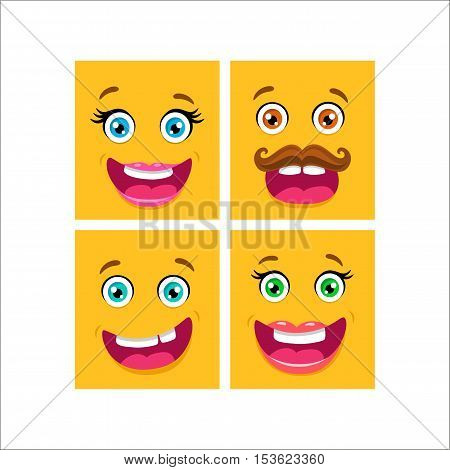 Vector Cartoon Flat Icons Of Happy And Surprised Family Faces: Mother, Father, Sister And Brother.