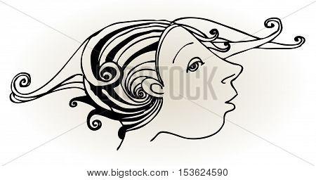 Human face, hand - drawn illustration, vector illustration