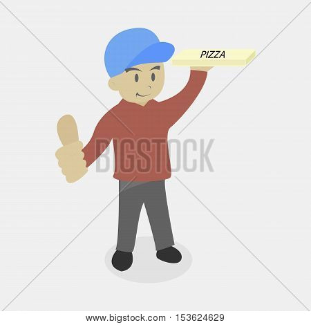 Pizza Delivery Man or Boy with His Thumb Up