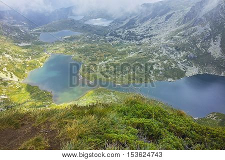Clouds over The Twin, The Trefoil, The Fish and the upper Lakes, The Seven Rila Lakes, Bulgaria