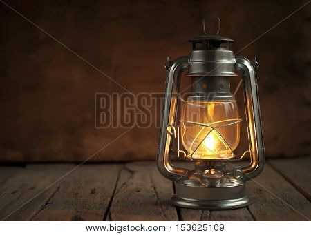Oil Lamp At Night On Wooden Surface