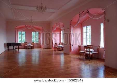 Castle room with pink alcoves