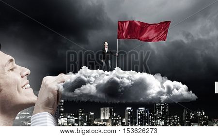 Guy holding red flag . Mixed media