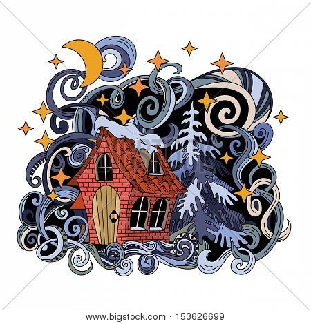 Cartoon cute hand-drawn doodle fairy house illustration. Vector artwork. Line art picture with winter items