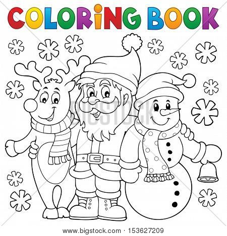 Coloring book Christmas characters - eps10 vector illustration.