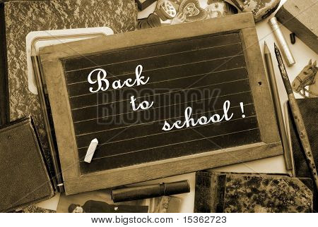 """""""Back to school!"""" in vintage style, sepia toned"""