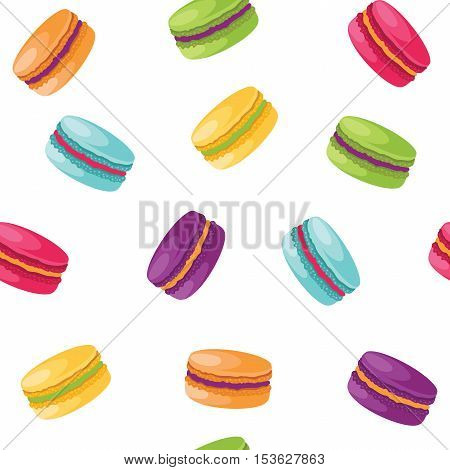 Colorful macaroons seamless pattern isolated on white background. Vector illustration