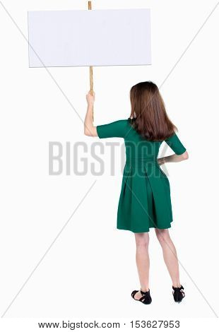 Back view woman showing sign board. man holds information plate. Rear view people collection. backside view of person. Isolated over white background. girl in a striped shirt holding a poster.