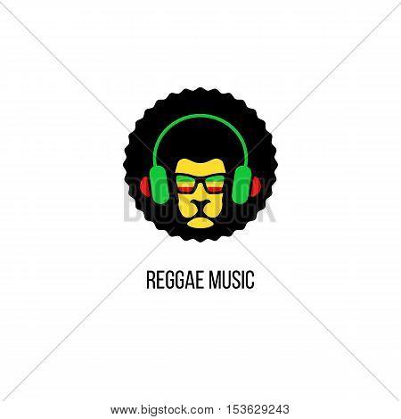 Lion Head In Sunglasses With Rastafari Flag And Headphones. Vector Reggae Music Logo Template Isolat