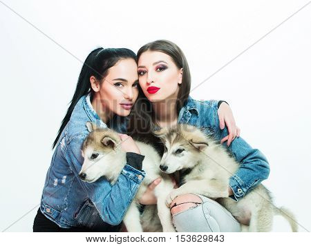 Girls In Denim With Husky