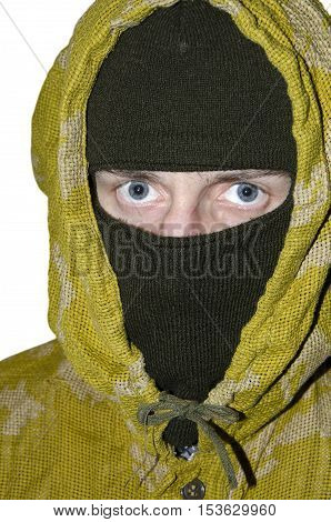 Man in mask and hood isolated on white background