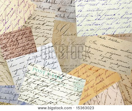 Collage of vintage handwriting samples