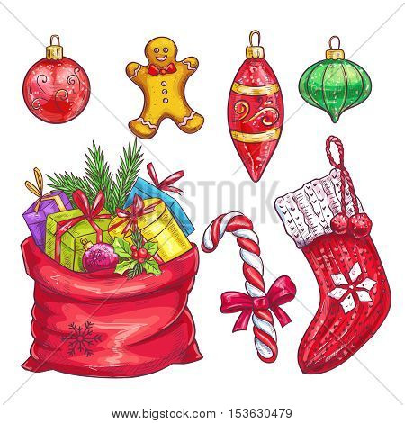 Vector hand drawn christmas decorative elements. Sock, bag with gifts, Christmas cookies, candy, ornaments in sketch style.