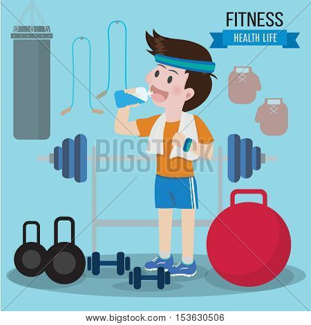 Gym health concept lifestyle. Can used for banner, advertising leaflet.Vector illustration Health life concept.