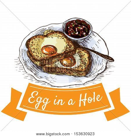 Egg in a hole colorful illustration. Vector illustration of breakfast.