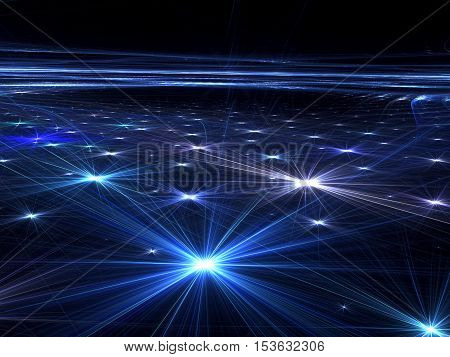 Abstract dark technology background - computer-generated image. Fractal art: he surface of the ground or the floor with bright, chaotic arrangement of stars. For banners, web design, covers
