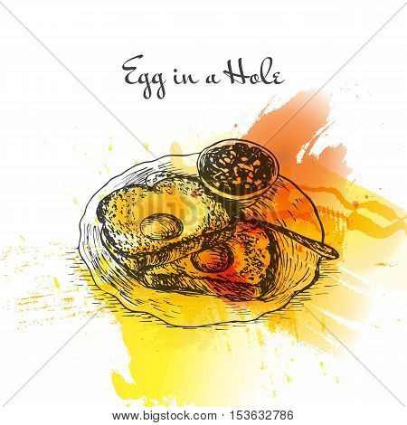 Egg in a hole colorful watercolor effect illustration. Vector illustration of breakfast.