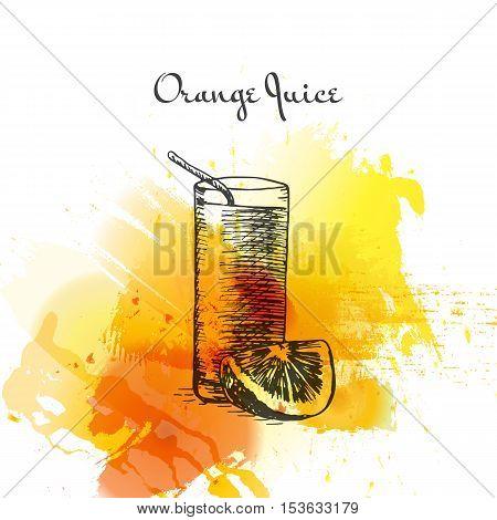 Orange juice colorful watercolor effect illustration. Vector illustration of breakfast.