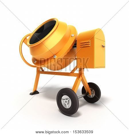 Concrete mixer 3D illustration on white close up