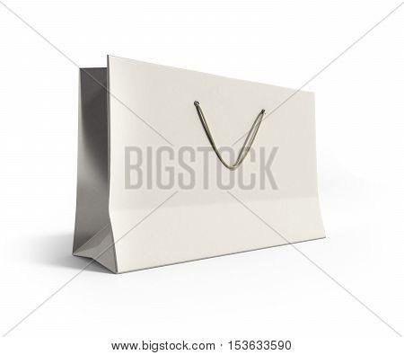 White Paper Bag 3D Render On White Background