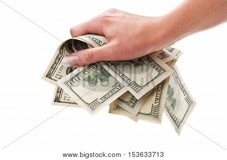 Dollars In Woman Hand