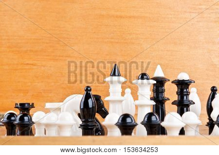 Old Chess On Wooden Background