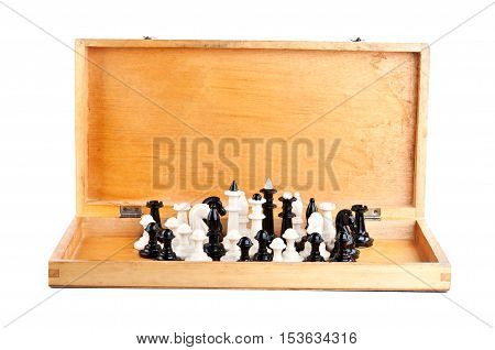 Chess Set In An Old Wooden Box