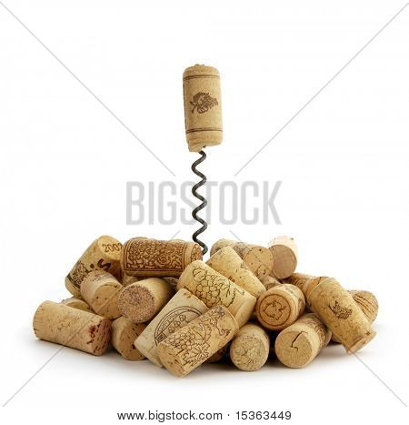Wine corks arrangement, isolated on white background