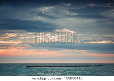 Beautiful sunset over the horizon in the sea, Phetchaburi Province, Thailand soft focus - Vintage effect style pictures