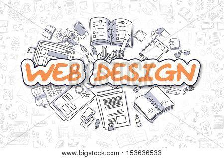 Web Design - Hand Drawn Business Illustration with Business Doodles. Orange Text - Web Design - Doodle Business Concept.