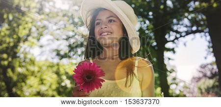 Girl Flower Enjoyment Refreshment Holiday Joy Concept