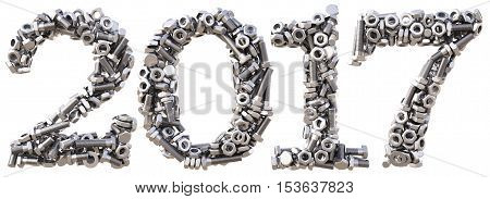 new 2017 year from the nuts and bolts. isolated on white. 3D illustration