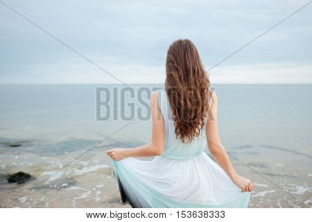 Back view of beautiful young woman with long hair in dress standing on the beach