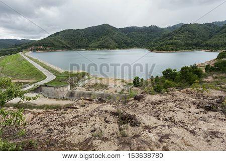 Dam view with bad weather day at Bangneowdam reservoir Phuket Thailand