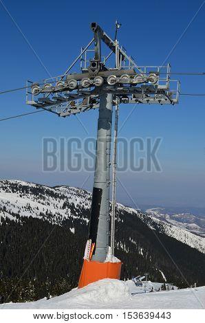 One single pillar of ski lift on ski ski resort Kopaonik vertical orientation