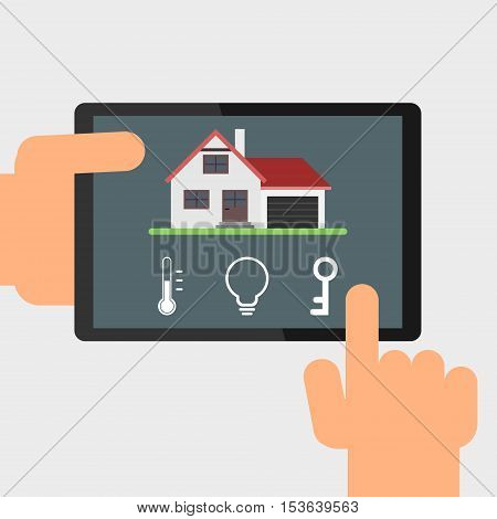 Smart home remote control by tablet. Vector illustration. Simple flat design.