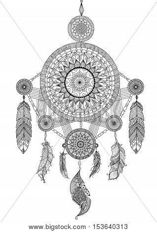 Lineart design of beautiful unique dream catcher for illustration and adult coloring book pages - Stock Vector
