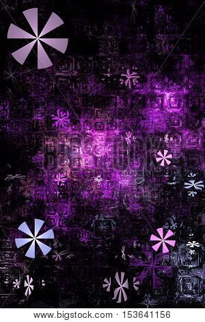 Industrial background. Fantasy fractal texture in purple grey pink and black colors. Digital art. 3D rendering.