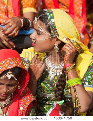 An Unidentified Girl  In Colorful Ethnic Attire Attends At The Pushkar Fair. Pushkar, Rajasthan, Ind