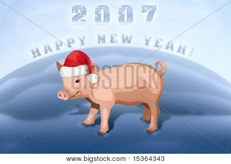 Piglet happy new year. Illustration.