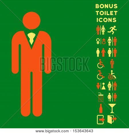 Gentleman icon and bonus man and female restroom symbols. Glyph illustration style is flat iconic bicolor symbols, orange and yellow colors, green background.