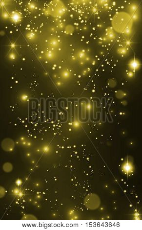 Golden bokeh, stardust background. Glint background, defocused bokeh. Gold star dust, pixie dust. Golden shimmer background, VIP party invitation.
