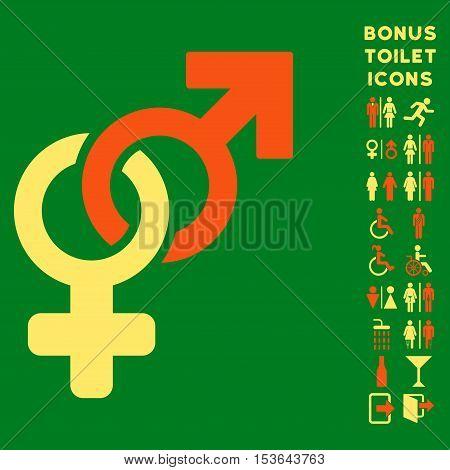 Heterosexual Symbol icon and bonus gentleman and female toilet symbols. Glyph illustration style is flat iconic bicolor symbols, orange and yellow colors, green background.