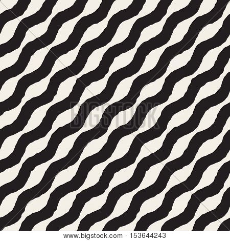 Vector Seamless Black and White Hand Drawn Wavy Diagonal Stripes Pattern. Abstract Freehand Background Design