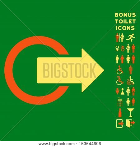 Logout icon and bonus male and female WC symbols. Glyph illustration style is flat iconic bicolor symbols, orange and yellow colors, green background.